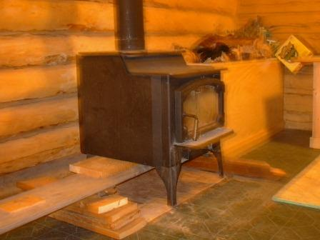Elevated wood stove